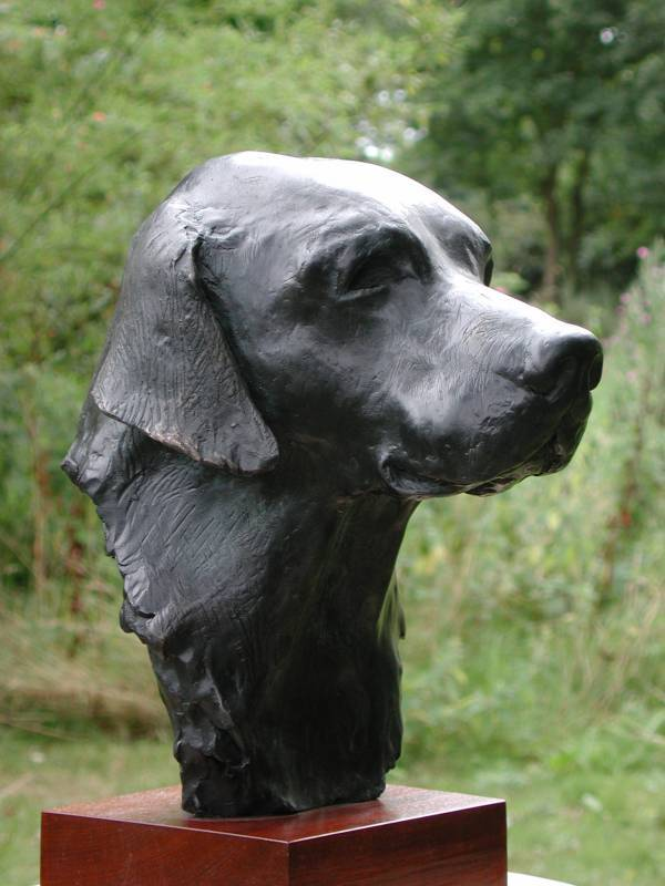 """Cooper"" is a black labrador commission by a North American labrador lover and art collector and his wife - shown here is the bronze bust"