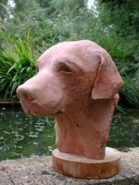 """Cooper"" is a black labrador commission by a North American labrador lover and art collector couple  - click on image for larger views of this animal sculpture"