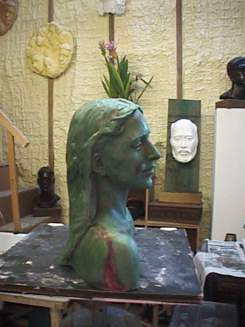wax stage of a bust or sculpture portrait to be cast into bronze
