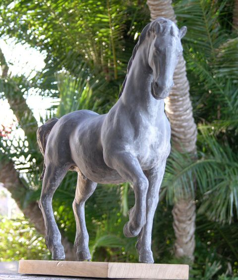 A picture of a resin copy of Clydesdale horse sculpture - a trophy commission