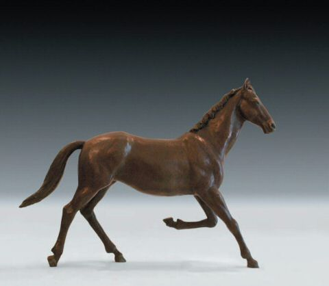 Selle Francais horse sculpture commission shown here in bronze