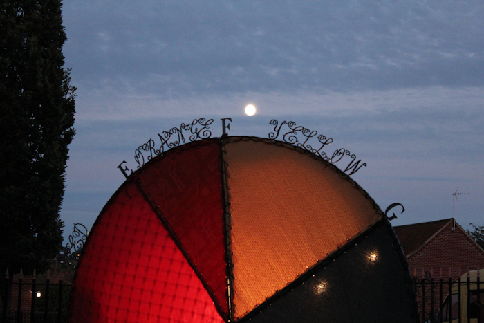 The moon rising over the installation....