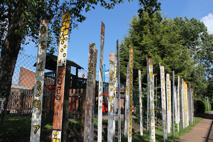 This new wood henge is a collaborative sculpture installation by Laury Dizengremel and pupils from Isaac Newton Primary School in Grantham, created in the context of a art workshop in the school