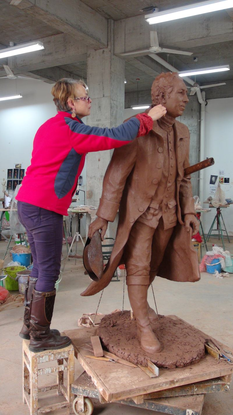 Lancelot Capability Brown - lifesize clay sculpture by Laury Dizengremel - likeness based on Cosway's painting