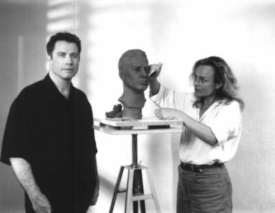 Bust of actor John Travolta in progress