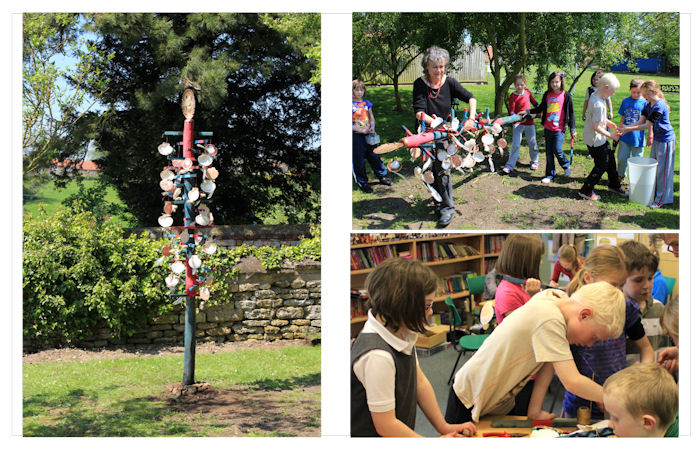 Various images of this totem pole sculpture installation created in a school workshop