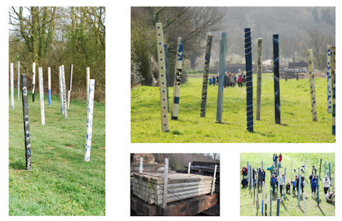 Belvoir Wood Henge - collaborative sculpture installation of a woodhenge , click image for more details