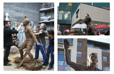 Various images of the Joey Maher sports sculpture commission