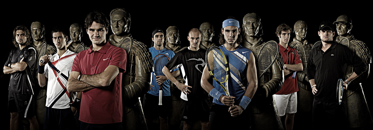 8 top tennis players qualified for Master Cup Shanghai along with their Tennis Warrior statues: Ferrer, Djokovic, Federer, Gonzalez, Davydenko, Nadal, Gasquet, Roddick