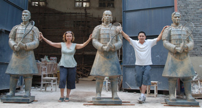 First three Warriors of tennis sculptures: Federer, Nadal and Djokovic